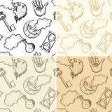 Seamless alchemy patterns Royalty Free Stock Photo