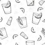 Seamless alcohol drinks vector pattern. Sketched tequila with lime and salt Stock Photo
