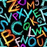seamless alfabetcrayon Royaltyfria Bilder
