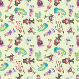 Seamless Alice in Wonderland pattern Stock Photos