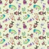 Seamless Alice in Wonderland pattern Stock Photos