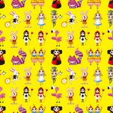 Seamless Alice in Wonderland pattern Stock Images