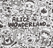 Seamless alice in wonderland pattern. Cartoon vector illustration Stock Image