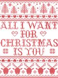 Seamless All I want for Christmas is you Scandinavian style, inspired by Norwegian Christmas, festive winter pattern stitched Stock Images