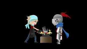 Seamless alpha animation cartoon of a knight warrior waiting a blacksmith to craft his new sword alpha background stock video