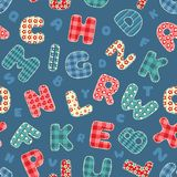 Seamless alphabet pattern. Seamless alphabet pattern blue. Background Stock Images