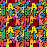 Seamless alphabet pattern made of colorful overlay abc character. S, school wallpaper Stock Photo