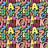 Seamless alphabet pattern made of colorful overlay abc character. S, school wallpaper, muted pastel colors Stock Photo