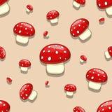 Seamless  amanita toxic mushroom Stock Photos