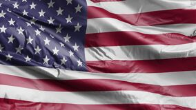 Seamless American Flag Slow Waving with visible wrinkles.Close up of UNITED STATES flag.usa