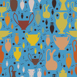 Seamless amphora and ancient pottery pattern. For shirts and wrapping paper Stock Photo