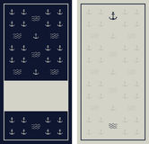 Seamless anchor navy blue pattern with grunge texture. Stock Image