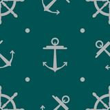 Seamless Anchor and steering wheel vector pattern texture Stock Photography