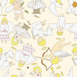 Seamless angel pattern. Vector drawing Stock Images