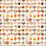 Seamless animal face pattern Stock Photos