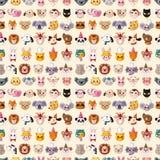 Seamless animal face pattern. Cartoon vector illustration Stock Photos
