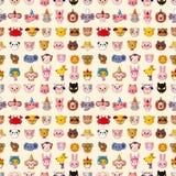 Seamless animal face pattern. Cartoon vector illustration Stock Image