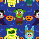 Seamless with animal in Halloween costume ,Halloween background Stock Images