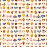 Seamless animal head pattern Stock Photos