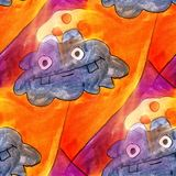Seamless animal, monster, blue, red light watercolor artist wall Royalty Free Stock Photo