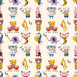 Seamless animal music pattern Stock Images