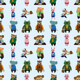 Seamless animal office worker pattern Stock Photos