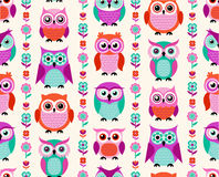Seamless animal owls pattern Stock Photo