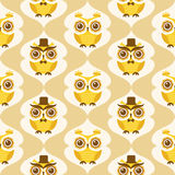 Seamless animal owls pattern Stock Images
