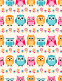 Seamless animal owls flower pattern Stock Photography