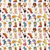 Seamless animal pattern. Cartoon vector illustration Stock Photography