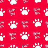 Seamless animal pattern with dog trail paws. Ornament for textile and wrapping. Vector Royalty Free Stock Image