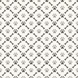Seamless animal pattern of paw footprint and bone Stock Photos