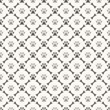 Seamless animal pattern of paw footprint and bone Stock Photos