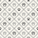 Seamless animal pattern of paw footprint in frame Royalty Free Stock Image