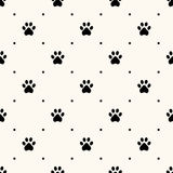 Seamless animal pattern of paw footprint Stock Images