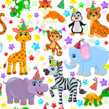 Seamless animal pattern stars birthday cone Stock Images