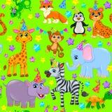 Seamless animal pattern stars birthday cone on green Stock Photography