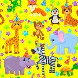 Seamless animal pattern stars birthday cone on yellow Stock Images