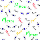 Seamless animal pattern vector blues cat eyes with colorful meow words  Royalty Free Stock Images