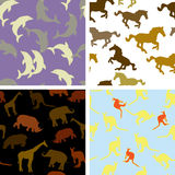 Seamless animal patterns Royalty Free Stock Photos