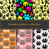 Seamless animal patterns of paw footprint Royalty Free Stock Images