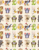 Seamless animal play music pattern. Vector drawing Stock Photos