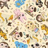 Seamless animal play music pattern Royalty Free Stock Photo
