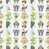 Seamless Animal Play Music Pattern Stock Photos