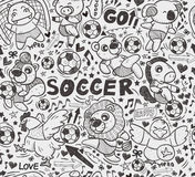 Seamless animal soccer player pattern Royalty Free Stock Photo