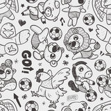 Seamless animal soccer player pattern Stock Images
