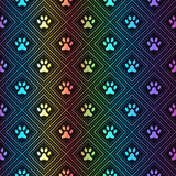 Seamless animal spectrum pattern of paw footprint Royalty Free Stock Photography