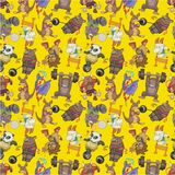 Seamless animal sport pattern Stock Photos