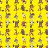 Seamless animal sport pattern. Cartoon vector illustration Stock Images