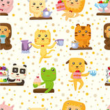 Seamless animal tea time pattern Royalty Free Stock Photos